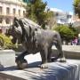 Leones, con bola de cañon (2) -paire de lions à la boule – Oruro
