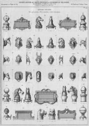 VO2_PL419 – Articles d'écurie (têtes pour poteaux, têtes à anneaux, cadres d'inscription)