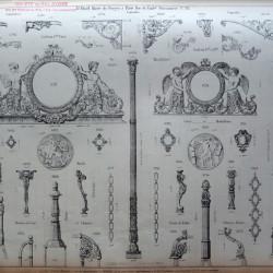 DUC_VO_PL100_F133 – Colonnes, consoles, cadrans, gouttières, porte-selles, bornes de cour et chaînes, pied de table, chasse-roues