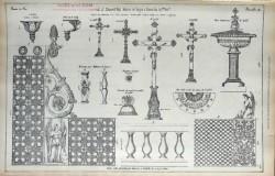 DUC_VO_PL074_F446 – Appuis de communion, croix, fonts baptismaux, crédence, petit chapiteau d'angle, petit bénitier d'applique