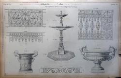 DUC_VO_PL076_F268 – Balcons de terrasse et de croisées, barres d'appui, coupe, vase, vasque