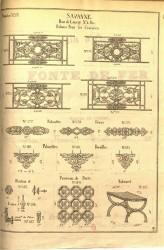 SAV_PL_013 – Balcons pour les croisées, palmettes, frises, rocailles, panneau de porte, tabouret, bouton, lance