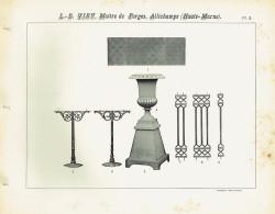 VIR_1893_PL03 – Plaques à damiers, vases Médicis, pieds de table, grilles d'entourage